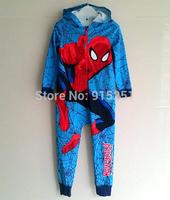 Children boy  spiderman Pyjamas Cartoon Cosplay Costume Pajamas Kids One piece Sleepwear boy cotton sleeper winter homewear