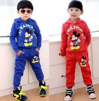 2015 Boys Mickey clothing set new cartoon long-sleeved children hoodies +  pants girls minnie 2pcs / set kids Leisure Suit