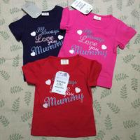 Free  Shipping  2015  new  retail  brand  fashion  summer  children's  T-shirt  O--Neck  letter  pattern  girl's  T-shirt