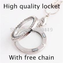 2015 New Fashion Round Floating locket With Rhinestone DIY Magnetic Glass Origami Owl locket With Free Chian Wholesale(China (Mainland))