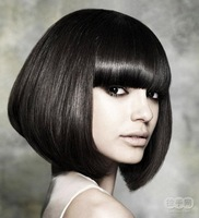 Straight Bob Black short wig Bangs free shipping 10pcs /lot