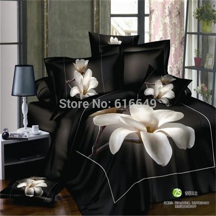 Reactive printed 3D bedding set linen cotton Magnolia flower black bed set queen size duvet cover/bed sheet/bedspread/pillowcase(China (Mainland))
