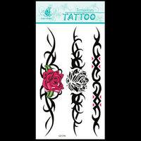 (12pcs) Free Shipping 2015 New Temporary Tattoo Sexy Flash Women Fake Makeup Large Waterproof Body Tattoo Stickers -Rose Chain