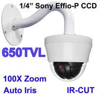 "SONY EFFIO-P 4"" Indoor mini high speed dome camera,PTZ Camera 650TVL AUTO Iris,10X optical zoom"