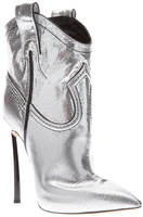 Newest 2015 Casade Silver Metallic Ankle Boots women genuine leather side zipper sexy pointed booties/booties