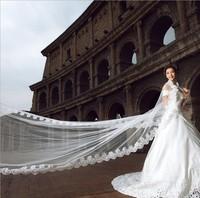 Bridal Veils  2014 New White Lace 5 Meters Long Bridal Veils Vestido De Noiva Wedding Veils