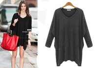 Women SImple Fashion Plus Size XL-5XL Asymmetrical Sweater Fat Pullovers Free Shipping ml2913