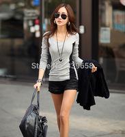 2014 Winter new Korean version of large size women stitching bottoming shirt Slim was thin long-sleeved T-shirt