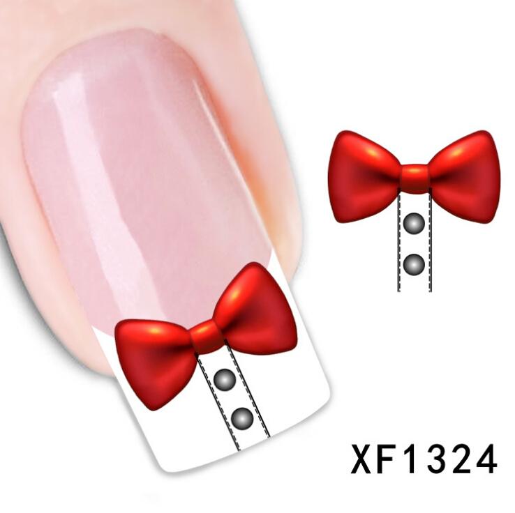 1041-1 moda bowknot transferência de água design bonito diy dica nail ar