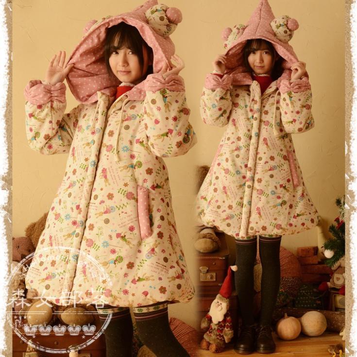 Женские пуховики, Куртки Mori Girls 2015 Loose Sweet Style женские пуховики куртки shiny day 2015 xxxl smtt011
