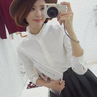Shirt female 2015 lace decoration plus size clothing flower basic long-sleeve white female