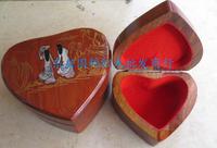 Mahogany casket Grass hua limu jewelry box Heart-shaped box Annatto ring box
