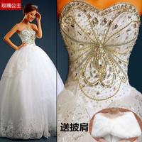 new arrival tube top bandage luxury rhinestone plus size long trailing wedding dress