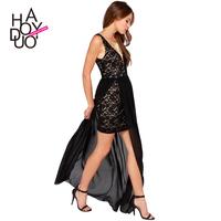new spring/summer 2015 V deep lace stitching chiffon dress dress sexy dress