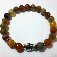 Hot Sale Handmade Green Dragon Vein Agate Round Beads Bracelet Elegant Stone Beads Bracelets Bangles