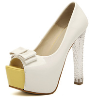 Free shipping 2014 Fashion Summer Women Shoes Open Toe White  Crystal heel  Platform High Heel Sandals Boots eur35-39