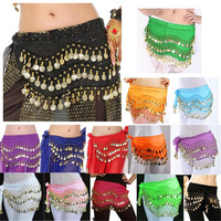 New Belly Dance Skirt Scarf Hip Wrap Belt Chiffon silver golden coins 13colors