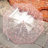 Girls Cute Kitty Cat Clear Umbrella Transparent Long Hook Handle Umbrella