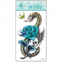 (12pcs) Free Shipping 2015 New Temporary Tattoo Sexy Flash Women Fake Makeup Large Waterproof Body Tattoo Stickers -Skull Snake