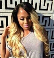ombre wig Blonde Black mix HEAT SAFE Wavy Light Weight Long Synthetic hair wigs free shipping