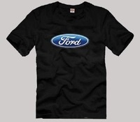 colour print Ford Car LOGO signs four-color male cotton short-sleeved T-shirt ford male 100% cotton summer solid o neck 6colours