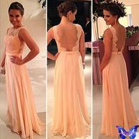 2015 New Women Clothes Chiffon Patchwork Lace Dress Pink Sexy Club Backless Maxi Dress Vestido De Festa