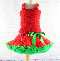 red color kids girls tutu skirt with vest sets children tutu skirt
