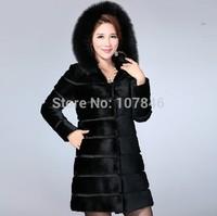 Genuine Wholeskin Natural Rabbit Fur Coat Jacket Fox Fur Hoodi Winter Women Fur Outerwear Coats Plus Size 4XL VK2000