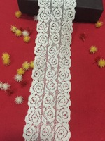 "Wholesale!  2 5/9""  6.5cm width 50meters ivory stretchy lace elastic thick lace floral high quality for wedding lace  headband,"