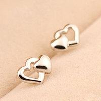 Fashion Sterling Silver 925 Double Heart Love Stud Earrings Jewelry for Women Lover Brincos Grandes Pendientes de festa Gifts