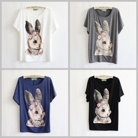 [AMY] 2015 rabbit printed women/girl t shirt Manual nail pearls blouse tees plus batwing sleeve big size casual dress wholesale