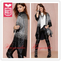 New 2015 brand High quality bling sequins Open stitch long Dust coat,OL loose gradient color beading clothing