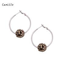 Camille 2015 New Fashion Women Vintage Pierced Flower HOOP Earrings  Hot alloy Earrings  Both gold and silver earrings FREE SHIP