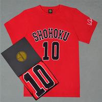 Classic Comics SLAM DUNK SHOHOKU High School Number #10 SAKURAGI T-Shirts With Signature Basketball Short-sleeve T-Shirts