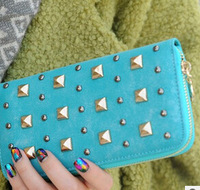 2015 new female long section of European and American retro matte personality rivet wallet zipper wallet