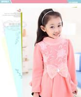 5pcs/lot New Fashion Winter Yellow and Pink Girls Dresses Teenage Dresses 120-160cm Kids Vestidos Free Shipping DA594