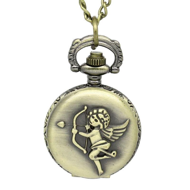 Classical Vintage Retro Design 1 Bronze Tone Necklace Chain Cupid Pattern Quartz Pocket Watch 84cm 33