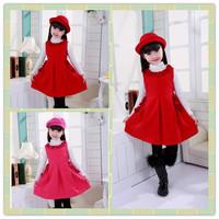 5pcs/lot New Fashion Winter Red and White Girls Dresses White Collar Teenage Dresses 120-160cm Kids Vestidos Free Shipping DA593