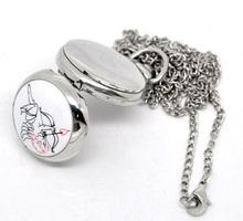 Wonderful Gift Classic Vintage Retro Design 1PC Silver Tone Necklace Enamel Cupid Quartz Pocket Watch
