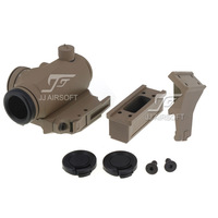 JJ Airsoft T1 / T-1 Red Dot with Killflash / Kill Flash, 45 degree Offset Mount,Bobro Style QD Low Mount and Riser (Tan)