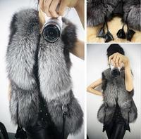 Women Faux Fur Vest Fashion Party 2015 Coat Jacket Waistcoat Tops Winter PU Leather Splice Fur Jacket Ladies' Outwear T22-24