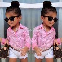 015 Summer Europe American girls pink striped shirt+shorts+belt 3pcs girls clothing sets suit Fashion children kids girl clothes
