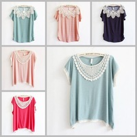 [AMY] 2015 Wave point printed women/girl t shirt cotton lace blouse tees plus batwing sleeve big size casual dress 6color