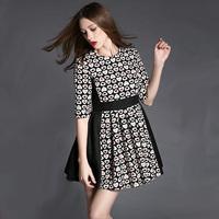 New Spring Women's Clothing 2015 Fashion Three-dimensional Jacquard Patchwork Slim Fifth Sleeve Dress