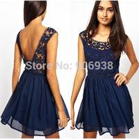 he 2015 Summer Chiffon sleeveless dress elegant dress flower lady mini skirt HOT SALE BACKLESS SEXY DRESS