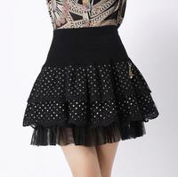 2015 Spring Summer New Fashion Women Lace Skirt Lady High Waist Womens Organza Mesh Elastic Ball Gown Skirts DQ123
