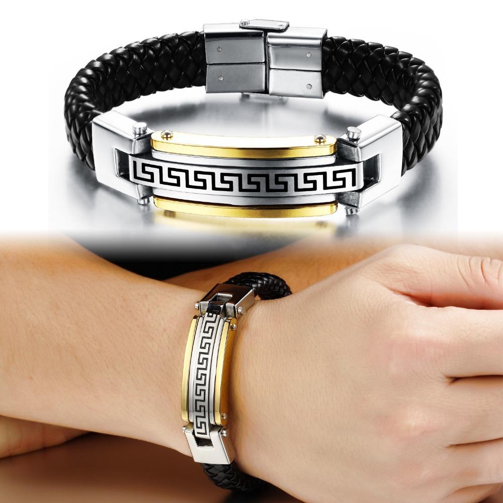 Fashion Men Jewelry 18K Gold Plated Male Great Wall Patterns Weave Geniune Leather Stainless Steel Bracelets