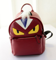 2015 new fashion cute little monster backpacks for men and women shoulder bag backpack factory outlets PU leather