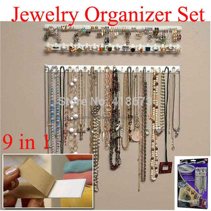 Hot Sale 9 in 1 Bling eez Adhesive hooks Jewelry Organizer jewelry storage hook combination sticky hooks hooks wall stickers set(China (Mainland))