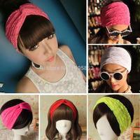 Women Lace Retro Turban Twist Head Wrap Headband Twisted Knotted Soft Hair Band